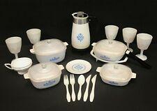 Vintage Corning Ware Plastic Play Toy Dishes Blue Cornflower Corelle Set