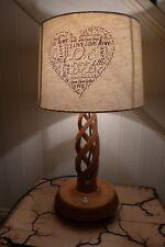 Vintage wooden table lamp home art, cottage, bedroom, beautiful wooden design