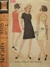 Amazing VTG 67 McCALLS 9105 Misses Dress in 2 Versions & Belt PATTERN 16/38B FF