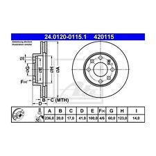 ATE 2 St. 420115 Bremsscheiben  24.0120-0115.1 OPEL/DAEWO