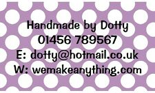 42 Large Personalised Labels Lilac Polka Dot  / Address / Hobbies  (Stickers)
