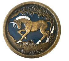 Vtg Unicorn Belt Buckle Horse Mystical Mythology Magic Pegasus Girls Fantasy 70s