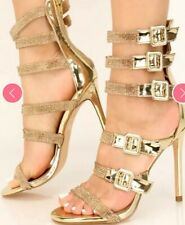 womens heels Gold Strapped Up Night Out Size 8 1/2 💜