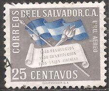 El Salvador Air Post Stamp - Scott #C137/AP40 25c Gray Canc/LH 1952