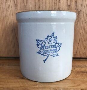 * ANTIQUE 2 Gallon Western Blue Maple Leaf Stoneware Crock  Monmouth IL