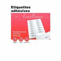 Lot 5 Planches A4 d'étiquettes Autocollante Blanc Imprimante 105 x 42 Coin Carré