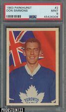 1963 Parkhurst Hockey #2 Don Simmons Maple Leafs PSA 9 MINT