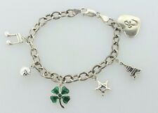 Sterling Silver 925 Charm Bracelet with 6 Charms - 7.5""
