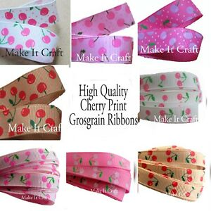 9mm and 16mm Cherry Print Grosgrain Ribbon - 2, or 3 metres