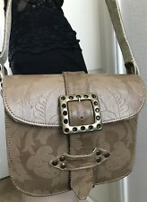 VINTAGE Women's BIG BUCKLE FLORAL BOHEMIAN TOOLED LEATHER Tote Shoulder Bag
