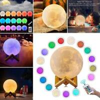 3D Moon Lamp USB LED Lunar Night Light Touch 3/16Color Changing W/Remote Room US