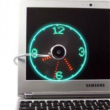 Adjustable USB Gadget USB Clock Fan Desktop LED Light Cooling Gadget with Cord