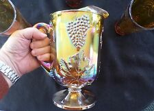Vintage Harvest Grape Marigold Indiana Carnival Pitcher & 3 Glasses -1960's