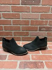 Shellys London Black Leather Pull On Block Heel Ankle Boots Women's Size 7.5