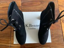 LK Bennett black leather suede boots UK 7 40 boxed worn once!