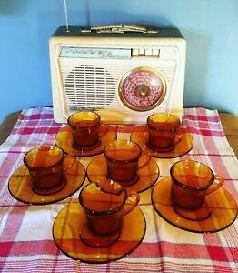 6 petites tasses à café en verre ambré Duralex ,  Saint Gobain, France - vintage