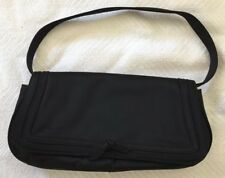 Ann Taylor Black Satin Evening Bag/Clutch W/Removable Strap EUC