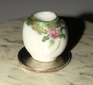 Vintage GINGER WYATT Porcelain Floral Urn /Vase Dollhouse Miniature Oval Shape