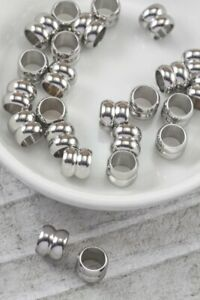 Stainless Steel Lot of 10 Grooved Tube 7mm x 6mm Spacer Accent Beads Hole: 5mm