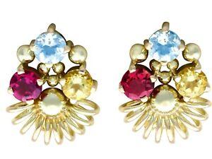 Aquamarine Garnet and Citrine 14k Yellow Gold Earrings Vintage Circa 1960