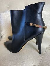 Cynthia Rowley ESIDE Black Leather Ankle Boots Booties Point Toe Sz 10 NEW