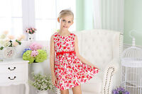NEWT Baby Girls Cotton Dress Printed Flower Toddler Dresses SIZE000-4 Red Orange