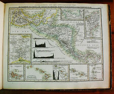 1849 MEYER'S ZEITUNGS-ATLAS=GEOGRAPHICAL MAP:WEST INDIE,NICARAGUA,PANAMA,GALAPAG