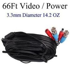66ft Video and Power cable 3.3mm diameter thick, use for Bnc Cameras
