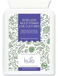20 Billion Live Bio Cultures - 8 Strain Strong ProBiotic Supplement 1 a Day
