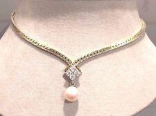 Massives Collier mit Perle u. Brillanten 0,4 ct. 14 K/585er Gelbgold TOP