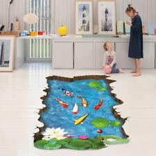 Fish Stream Floor Wall Sticker Mural 3D Decals Vinyl Art Living Room Decor Kids