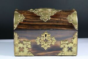 Antique Victorian Coromandel and brass domed box AC6