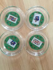 POKER CARD GLASS PARTY COASTERS FRANCE LUMINARC Playing Card Design SET OF 4 VTG