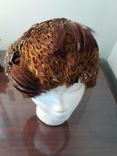 Vintage Women's Hat Pheasant Feather Covered Ladies Skull Cap 1950's-1960's unbr