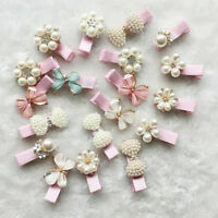 2Pcs Toddler Baby Girl Kids Hair Clips Party Princess Pearl Crown Flower Hairpin