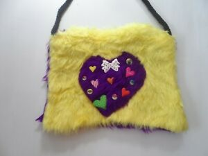 yellow purple heart faux furry shoulder bag  with zip clubwear
