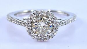 .81 ct NATURAL DIAMOND halo solitaire engagement  ring 14k white GOLD (VIDEO)