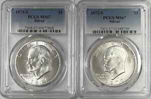 1971 S & 1972 S Eisenhower Ike Silver Dollars PCGS MS67 2 Coin Set
