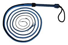 12 foot t 16 plait BLACK & BLUE Real NYLON Bullwhip Shot loaded Bull whip