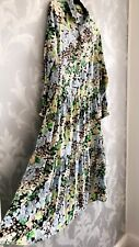 H&M BLUE GREEN FLORAL PRINT COLLARD MIDI MAXI TIERED DRESS SIZE L 16 18 SOLD OUT