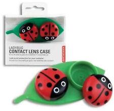 New CONTACT LENS CASE Ladybug on Leaf KIKKERLAND Home Travel Eye Care ~Cute~