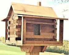 Log Cabin Bird Feeder From Antique Reclaimed Barn Hardwood-Handmade Handcrafted