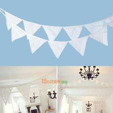 Outdoor 12 Flags 3.2m White Cotton Party Wedding Pennant Bunting Banner Decor