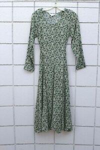 Vintage Kar-A-Van Peasant Prairie Boho Midi Green Rayon Fit Flare Dress India S