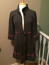 JOHNNY WAS JWLA Long Sleeve Coat Jacket Gray Embroidered Size Medium FLAW