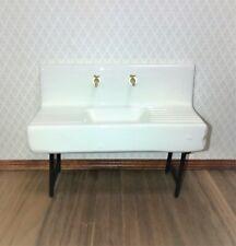 Dollhouse Miniature Sink White Ceramic Kitchen or Utility Room 1:12 Scale