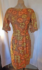Classic 50s Autumn Colors Dress w/ Belt by Suzy Perette sz S