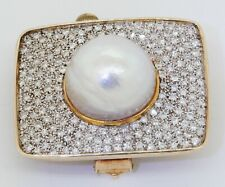 & 17mm Mabe pearl cluster brooch Vintage heavy 14K gold 3.90Ctw Vs diamond