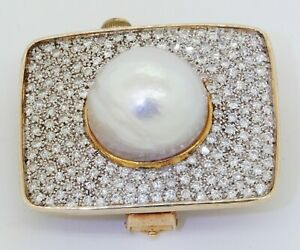 Vintage heavy 14K gold 3.90CTW VS diamond & 17mm Mabe pearl cluster brooch