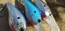 3 CUSTOM PAINTED LUCKYCRAFT DEEPDIVING SQUAREBILL FISHING LURES HOLOGRAPHIC BLUE